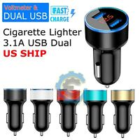 5V 3.1A 2 Port USB Car Charger Dual LCD Display For iPhone, Samsung, LG, ZTE