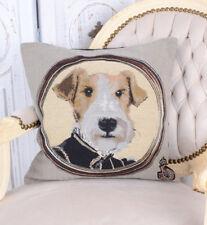 Kissen Gobelin Zierkissen Graf von Terrier Kissenhülle Kissenbezug Hund Vintage