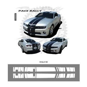 Chevrolet Camaro Convertible 2011 up Rally Stripes Graphic Kit - Bright White