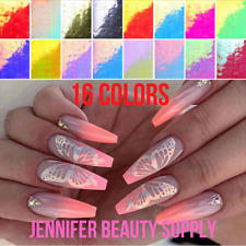 16PCS BUTTERFLY WINGS HOLOGRAPHIC 3D NAIL ART STICKERS DECAL SELF ADHESIVE DECOR