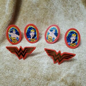 Set of 6 Red Wonder Woman Cupcake Cake Toppers Decorations