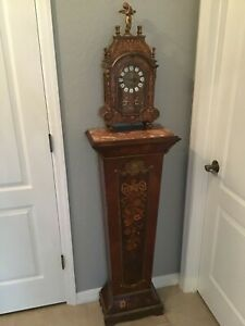 BEAUTIFUL ITALIAN BOULLE CLOCK ON MARBLE TOP INLAID FLORAL MARQUETRY PEDESTAL
