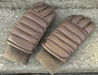 Vintage 1980 80s Tan Sherpa Lined Insulated Striped Winter Snow Cold Gloves