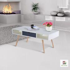 Scandinavian Coffee Table Retro Style White Wooden Elegant Unit Storage Table UK