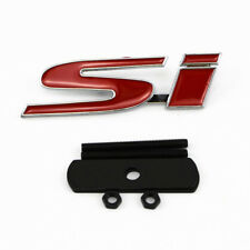 For Honda Civic 3D Pure Metal Red SI Badge Logo Car Front Grille Ornament Emblem