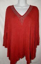 Top Knox Rose XL Bling Embellished V Neck 3/4 Sleeve Red Soft Stretch Shirt XL19