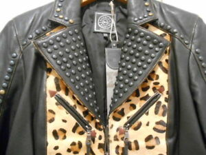 Double D Ranch Wear Nilla Black Leather and leopard calfhair Jacket and scarf XS