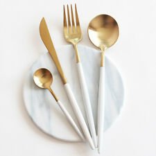 24-Piece Modern White Gold Cutlery Stainless Steel Flatware - Set for 6 Persons