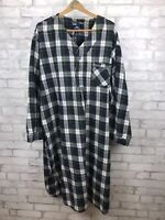 Stafford Men's Green Blue Plaid Sleep Night Shirt  - Size XXL Cotton Flannel