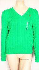Ralph Lauren  Kimberley PP LS VN SWT  Damen Pullover, Mittel Grün V-Ausschnitt