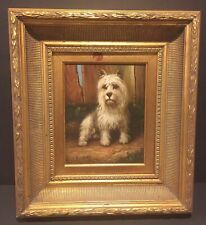Vintage Terrier Dog Portrait Painting Listed Artist L Harvey Ornate Frame
