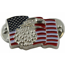 Patriotic Pin With The Bald Eagle On Top Of The American Flag
