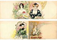 JACK ABEILLÉ ART NOUVEAU ARTIST SIGNED SET OF 6 Vintage Postcards (L2593)