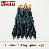 6Pcs 23cm Aluminum Alloy Outdoor Camping Trip Spiral Tent Peg Ground Nail Stakes