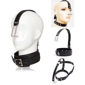 Metal Collar Neck Nose Hook Adjustable PU Leather Slave SM Head Harness Bondage