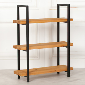 Rustic Pine Wood & Metal Industrial 3 Tier Bookcase Shelving Unit  FREE Delivery