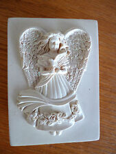 Angel Trinket Box  Ivory Composite  Glittery Wings & 3 Roses Inside
