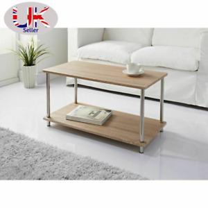 Large Oak Coffee Table With Steel Legs & Shelf Underneath Living Room