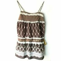 Hazel M Top Tiered Lace Trim Tank Spaghetti Strap Multicolor Womens Size Medium