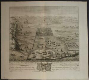 BATTLE OF RUSPINA TUNISIA 1710 DANIEL STOPENDAAL ANTIQUE COOPER ENGRAVED MAP