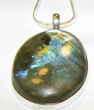 Labradorite Sterling Silver pendant necklace snake chain natural stone # 103