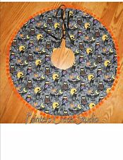 "HALLOWEEN OWL, OWLS,PUMPKINS,MOON Tree Skirt, Lamp Skirt 19""dia,Prim,Fall,Goth"