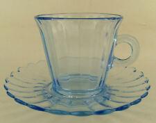 Imperial Glass Pillar Flute 682 Blue Glow Cup & Saucer