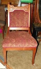 Walnut Carved Parlor Chair Sidechair red gold  (SC15)