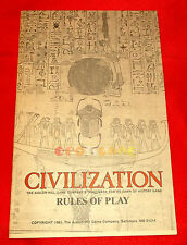 RULES OF PLAY del Gioco da Tavolo CIVILIZATION Avalon Hill '80 RICAMBIO - C5