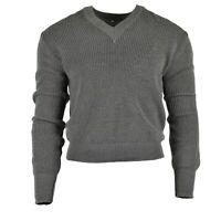 Original Austrian army pullover Jumper grey wool V-neck sweater