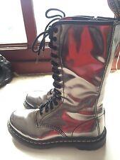 "Dr. Martens ""Air Ware"" Metallic Pewter Women's Combat Boots- Sz 8!"
