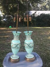 Pair Hollywood Regency Opaline Green Glass Hand Painted Table Lamps Greek Key