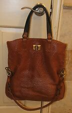 NEW LANVIN 'REFLEX' CAMEL PERFORATED FOLDOVER TOTE BAG/SHOPPING SAC, $2,075
