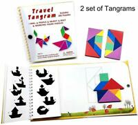 Magnetic Travel Tangram Puzzles Book Games IQ Educational Toys for Kids Adults