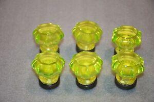 Vintage Uranium Glass Drawer Handle Knoob Pull 1 Unit or 6 Units YOU CHOOSE