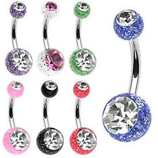 NEW LOT OF 7 x UV Glitter Double Gem Stone Belly Bar Wholesale Body Piecing