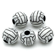 100 x White Acrylic Football Beads / Soccer Pony Beads 12mm Dummy Clips