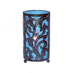 LARGE Blue Bedside Fabric Lamp Hand Carved Metal Leaf Design Fair Trade