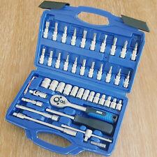 "Moss Socket Set 46pc 1/4"" Drive Tool Set With Ratchet Torx Hex UJ Adaptor PZ2"