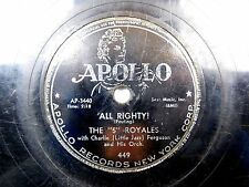 """The """"5"""" Royals - Doo Wop 78 Apollo - All Righty! / I Want To Thank You"""