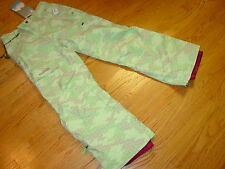 Youth Girls XL 16 Burton Ski Snowboard Snow Cargo Bitmap Pants Green Maroon NEW