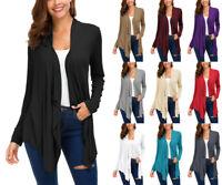 Women Long Sleeve Irregular Hem Open Front Cardigan