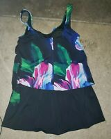 Maxine Of Hollywood Vintage Blue Floral Swimsuit Romper One Piece Size 12