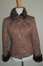 WOMEN'S NANCY BOLEN BROWN COTTON BLEND 5 SNAP BLAZER SIZE SML