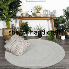 Natural Hand Woven Braided Round Gray Colour 4 Feet Jute Rug Area Rug Carpet Mat