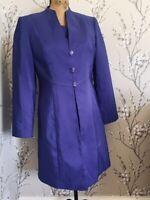 Jacques Vert Purple Dress & Coat Size 10- 12 Raw Silk wedding / christening