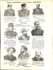 Publicité du vin Mariani portrait autographe du Général Gallieni  GRAVURE 1902