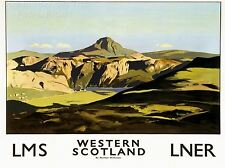 Impresión de arte De Viaje Turismo Ferrocarril Oeste de Escocia Paisaje Glen Loch Reino Unido nofl1256