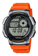 Casio AE1000W-4BV Men's Orange Resin Band 5 Alarms Chronograph World Time Watch