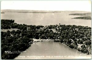 "ARNOLD'S PARK, Iowa RPPC Photo Postcard Air View ""Lakes Minnewashta & W Okoboji"""